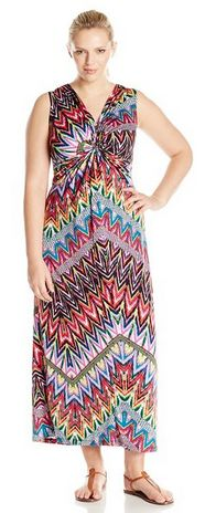 Plus-Size Sleeveless Printed Knot Front Maxi V Neck