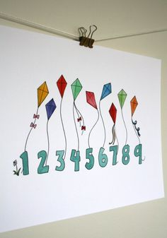 Childrens Art Print with Numbers Counting Kites by stubborndog, $15.00