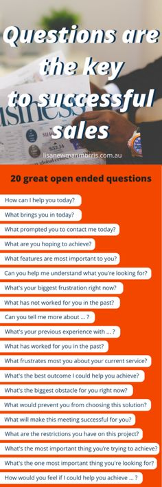 Sales Questions | Questions are the key | key to successful sales | sales process | sales process flowchart | sales process infographic | sales process tips | sales process business | Sales Process & CRM | Sales Process | successful sales tips | successful sales | successful sales people | successful sales women | successful sales quotes | Successful Sales Success |