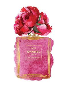 Chanel art Pink Peony watercolor Gold by hellomrmoon Chanel Kunst Pink Peony Aquarell Gold von hellomrmoon Gold Wall Art, Pink Wall Art, Art Chanel, Coco Chanel, Art Mural Rose, Mode Poster, Chanel Poster, Parfum Chanel, Gold Home Accessories