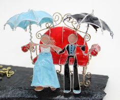 Rainy Day With Morning Glory, Custom Wedding Cake Topper by Weddings and Wire by WeddingsAndWire on Etsy https://www.etsy.com/listing/222951575/rainy-day-with-morning-glory-custom