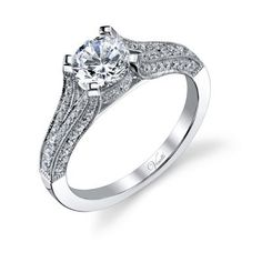 engagement ring available in white or yellow gold. venetti.com @coluccisjewelry
