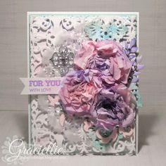 Graciellie Design: For YOU with love, Valentine's, handmade card, handmade flowers, sketch, Cardabilities, Color inspiration, Mod Squad challenge, Love, Shabby Chic, Spellbinders Mary Border Strip, Avery Elle Simply Tags Everyday, Cheery Lynn Designs English Tea Party, craft metal, ODBD dies, Docrafts Xcut Leafy Flourishes, Marianne Creatables, teal and purple, vellum doily