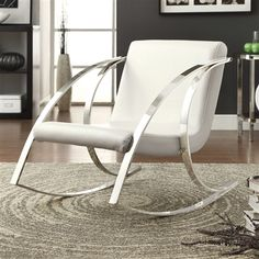 Pearlescent White Modern Rocking Chair Curvaceous Chrome Arms & Legs