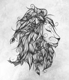 print on metal Black & White grey lion king royal jungle feather feathers lions animal animals illustration drawing black white #art #artprintmetal #boho #loujah #gypsy #hippie