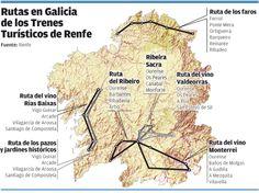 rutas trenes turísticos galicia Spain, Map, World, Trains, Paths, Transportation, Traveling, Tourism, Sevilla Spain