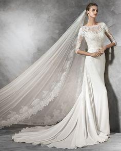 PRONOVIAS | Bateau Neckline Column Wedding Dress in Crepe