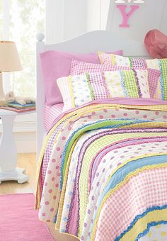 Little Girls Dottie Quilt, striped polka dot & gingham rainbow pastels Little Girl Bedrooms, Girls Bedroom, Girl Rooms, Girls Quilts, Baby Quilts, Striped Quilt, Quilt Bedding, Home Projects, Sewing Projects