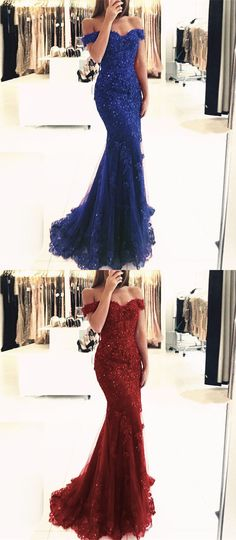 off the shoulder mermaid prom dresses, royal blue party dress with beading, burgundy evening dresses with appliques