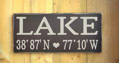Lake House Decor Custom Latitude Longitude Nautical Wood Sign GPS Coordinates Wall Art Latitude Longitude GPS Home Decor Handmade Wooden Signs Lakeside Living