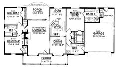 Three Bedroom Country (HWBDO67754) | Country House Plan from BuilderHousePlans.com