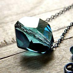 Teal Crystal Necklace, Blue Swarovski Indicolite Crystal Oxidized Sterling Silver - Cove. $32.00, via Etsy.