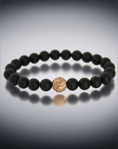 Dyoh Jewelry - Gold Pava Rhinestone Inset and 8 mm Matte Black Onyx Bead Bracelet DYOH-PVGD850 DyOH Pava Rhinestone Collection
