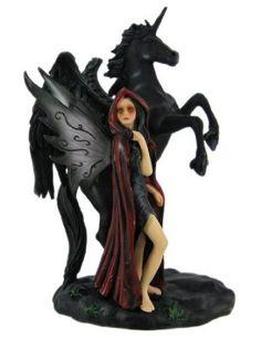 Gothic Fairy With Black Unicorn Statue Faerie Figure
