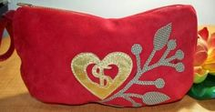 Red suede wristlet