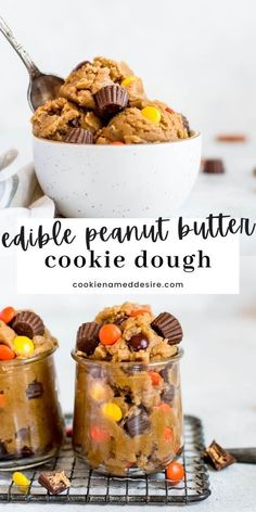 Eating cookie dough is one of the best things ever. Do it safely with this edible peanut butter cookie dough made with no eggs. Add in all your favorite mix-ins for the best treat ever! Edible Sugar Cookie Dough, Eating Raw Cookie Dough, Cookie Dough To Eat, Cookie Dough Frosting, Edible Cookies, Cookie Dough Recipes, Edible Cake, Best Peanut Butter, Peanut Butter Desserts