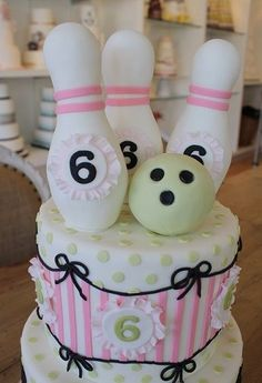 Bowling cake- but has so many cute details that could be used for other themes and colors, too!  So cute~