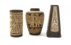 Three Weller Pottery Vases,including two in the Burntwood pattern, the other in the Claywood pattern. Weller Pottery, Pottery Vase, Ceramic Art, Cool Things To Buy, Christmas Crafts, Arts And Crafts, Ceramics, Lebanon, Vases