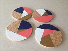 Navy Coral Gold White Abstract Round Cork Coasters by Eliza Cerdeiros Coaster Crafts, Cork Coasters, Cork Crafts, Custom Coasters, Crafts To Make And Sell, Diy Arts And Crafts, Coral And Gold, Black Gold, Craft Fairs