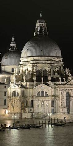 Night view of Santa Maria della Salute basilica in Venice. Photo by Wolfgang Moroder. #WorldBeautifulPlaces #Venice