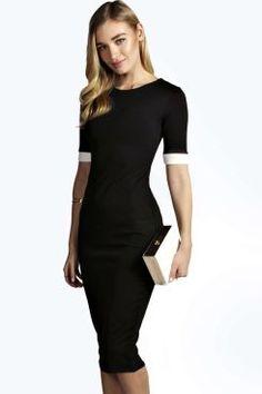 Mila Contrast Cuff Bodycon Midi Dress