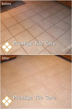 Clean tile and grout on a kitchen floor.