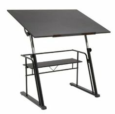 """Zenith Drafting Table by Studio Designs. $378.62. 13340 Features: -Drafting table.-Modern design.-Unique contemporary design.-Top has 5 adjustment angles from flat to 40 degrees.-Height adjustable from 32.5"""" - 38.5""""H. Color/Finish: -Black color. Dimensions: -Main work surface dimensions: 42"""" W x 30"""" D.-Overall dimensions:32.5"""" - 38.5"""" H x 42"""" W x 30"""" D. Warranty: -Manufacturer provides 10 year warranty."""