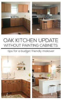Kitchen Remodel On A Budget Easy budget-friendly ways to update your kitchen wit. Kitchen Remodel On A Budget Easy budget-friendly ways to update your kitchen without painting the cabinets! Budget Kitchen Remodel, Kitchen On A Budget, Kitchen Redo, Home Decor Kitchen, Home Kitchens, Kitchen Remodeling, Remodeling Ideas, Kitchen Makeovers, Room Makeovers