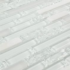 Linear Crackled Glass Tile Snow White - Angled photo