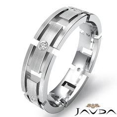 Round Cut Bezel Diamond Box Link Eternity Wedding Mens Band Ring Platinum 0 15ct | eBay