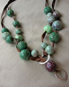 Papier mache bead necklace