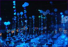 Like the blue lights and the glow in the dark ballons arranged to look like rising bubbles.