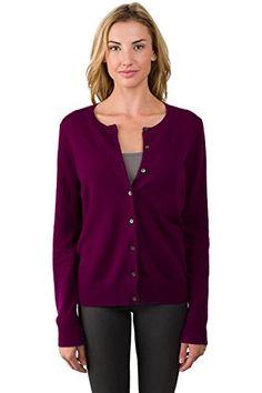 JENNIE LIU Women's 100% Cashmere Button Front Long Sleeve Crewneck Cardigan Sweater (M, PLUM)