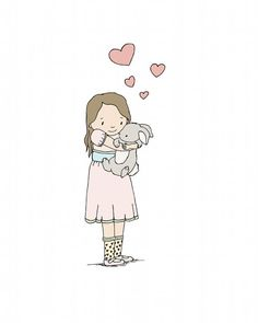 Hey, I found this really awesome Etsy listing at http://www.etsy.com/listing/165888578/children-art-heart-hugs-girl-and-bunny