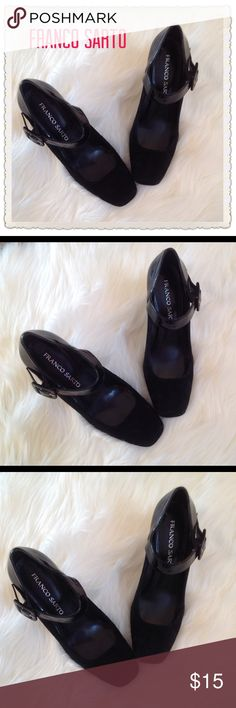 Franco Sarto Thompson Ankle Strap Heels Franco Sarto Black Thompson ankle Strap Heels.  Patent leather on heels/ankle.  Suede on body and squared toes.  Good condition on upper body of shoes;  some slight makes on heels.  See photos. Franco Sarto Shoes Heels