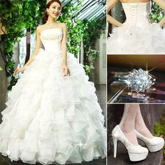 Charming Strapless Tiered Pearl Lace-Up Wedding Dress