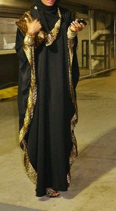 Abaya is a long loose dress. Women wear abaya when they go outside home. They wear abaya for coverin Hijab Fashion 2016, Arab Fashion, Islamic Fashion, Muslim Fashion, Modest Fashion, Abaya Designs, Mode Abaya, Mode Hijab, Abaya Style