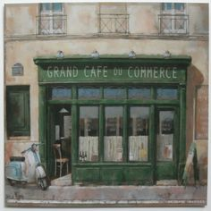 Small French Shop Art Print, Grand Cafe Du Commerce by Simon Parr | eBay $3.49