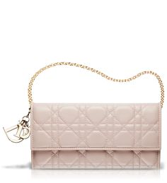Powder pink leather 'Lady Dior' wallet (with chain)