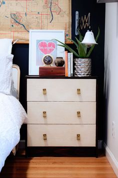 Ikea Home Decor Hack: Rast Dresser with burlap fronts and leather pulls