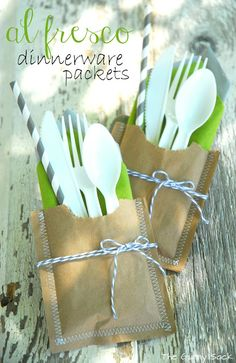 Dinnerware Picnic Packets- made with paper lunch sacks!  Staple salt/pepper packs to top front