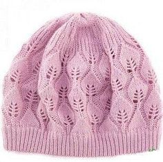 Free knitting pattern for a lace leaf hat! Lace Knitting Stitches, Lace Knitting Patterns, Free Knitting, Baby Knitting, Knit Crochet, Crochet Hats, Knitting Projects, Hats For Women, Knitted Hats