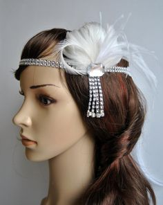 The Great Gatsby Headband, 1920s Headpiece, Flapper Feather Headband, Vintage Inspired Headband, 1920's, 1930's, Feather, Silver, ivory