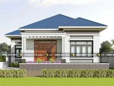 Contemporary Three-bedroom Bungalow with a Hip Roof - Ulric Home Modern Bungalow House Design, Small House Design, Bungalow Designs, Bungalow Floor Plans, Duplex House Plans, One Storey House, Two Bedroom House, Model House Plan, Small Porches