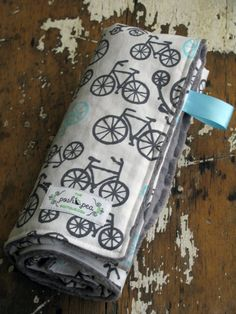 Bikes. Baby Blanket - Bicycle Haze - Baby Boy - Grey & Aqua - YOU CHOOSE either Minky or Chenille back on Etsy, $42.00