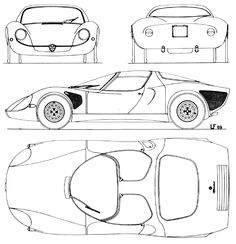 Car blueprint blueprints cars pinterest cars car drawings alfa romeo tipo 33 stradale blueprints vector drawings clipart and pdf templates malvernweather Images