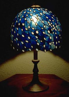 """Snowfall at Night"" - Ichiro Tashiro. Beautiful stained glass lamp"