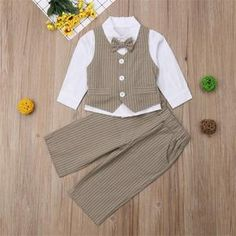 Fashion gentleman soft cotton long sleeve bow-tie shirt vest and trousers, which will make your kids look cool and attractive. Bow Tie Shirt, Tied Shirt, Shirt Vest, Dance Outfits, Boy Outfits, Valentines Outfits, Formal Suits, Color Khaki, New Year Gifts