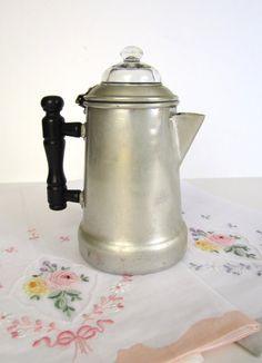 Vintage Coffee Pot  Aluminum  Percolator  Banner by PickingCotton, $10.00
