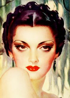 From a Savage Lipstick ad, 1936 1930s Makeup, Vintage Makeup Ads, Vintage Beauty, Vintage Ads, Vintage Images, Vintage Posters, Vintage Glamour, Vintage Pictures, Rolf Armstrong